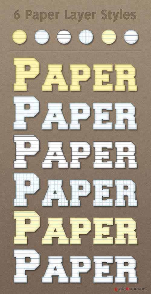 6 Paper Photoshop Layer Styles