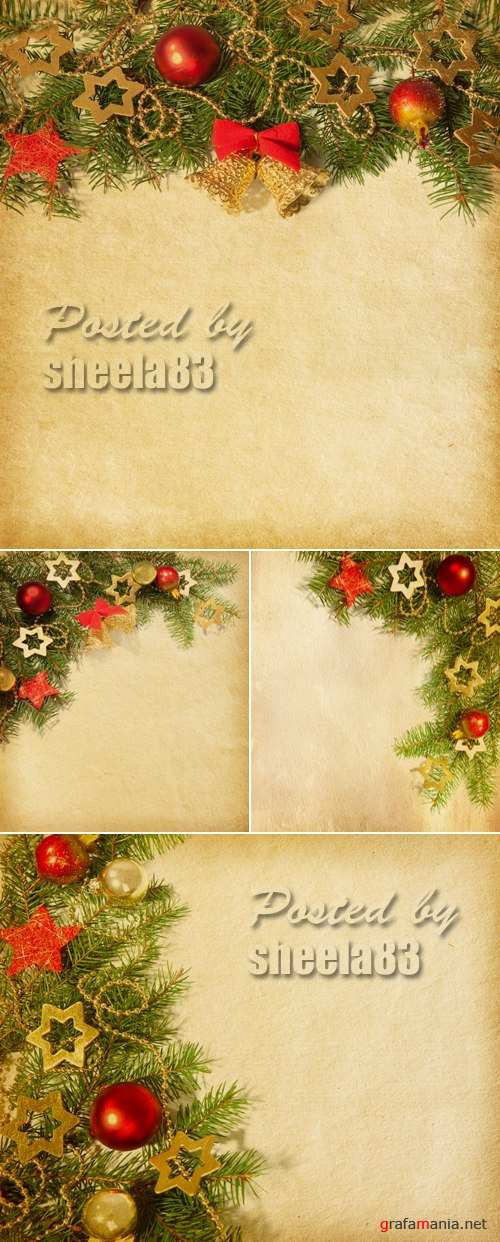 Stock Photo - Vintage Paper with Christmas Decorations