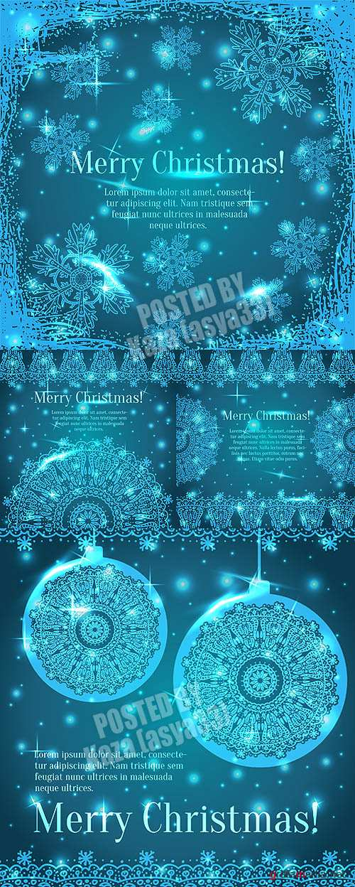Blue New Year snowflake cards