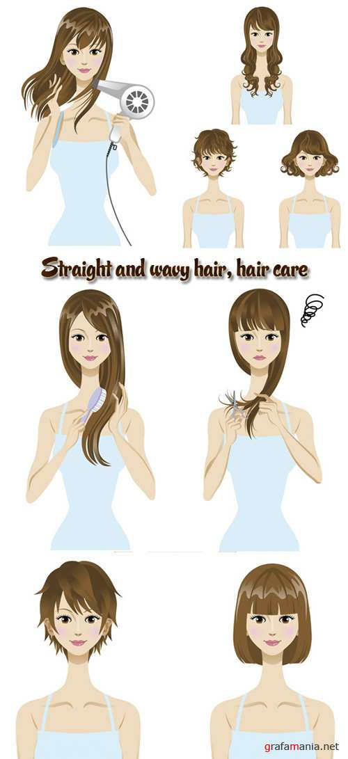 Stock: Straight and wavy hair, hair care