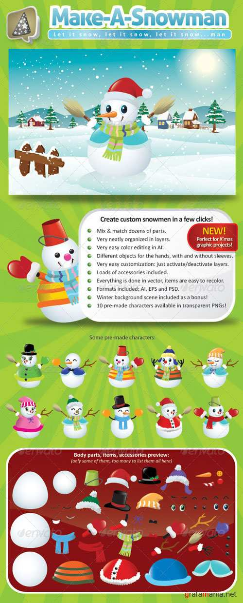 GraphicRiver - Vector Snowman Creation Pack 761167
