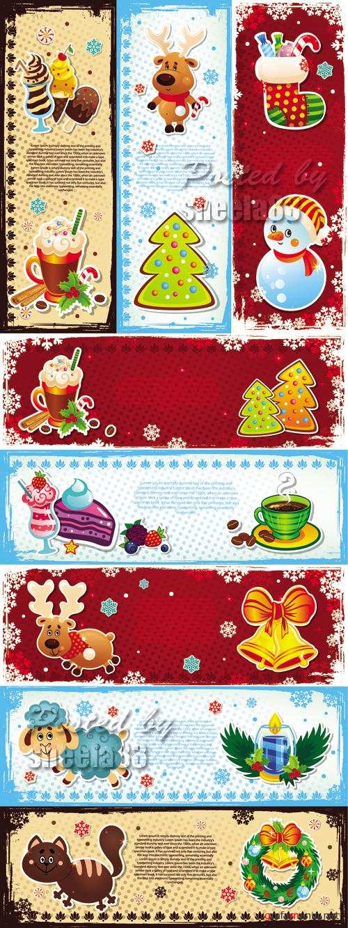 Funny Christmas Banners Vector