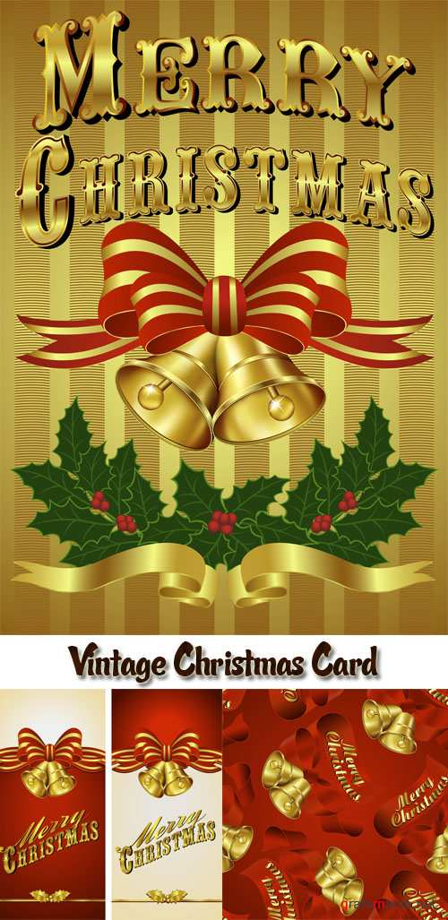 Stock: Vintage Christmas Card with hand drawn lettering