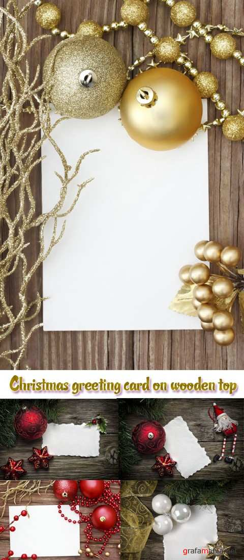 Stock Photo: Christmas greeting card on wooden top