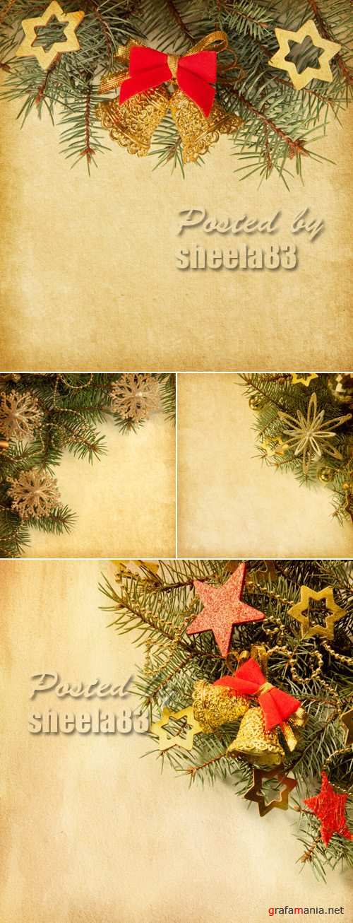 Stock Photo - Vintage Paper with Christmas Decorations 2
