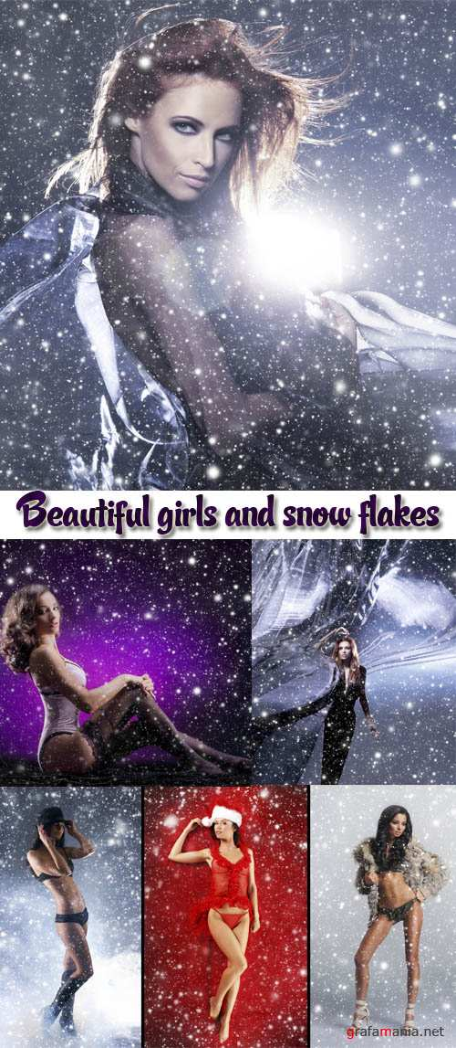 Stock Photo: Beautiful girls and snow flakes