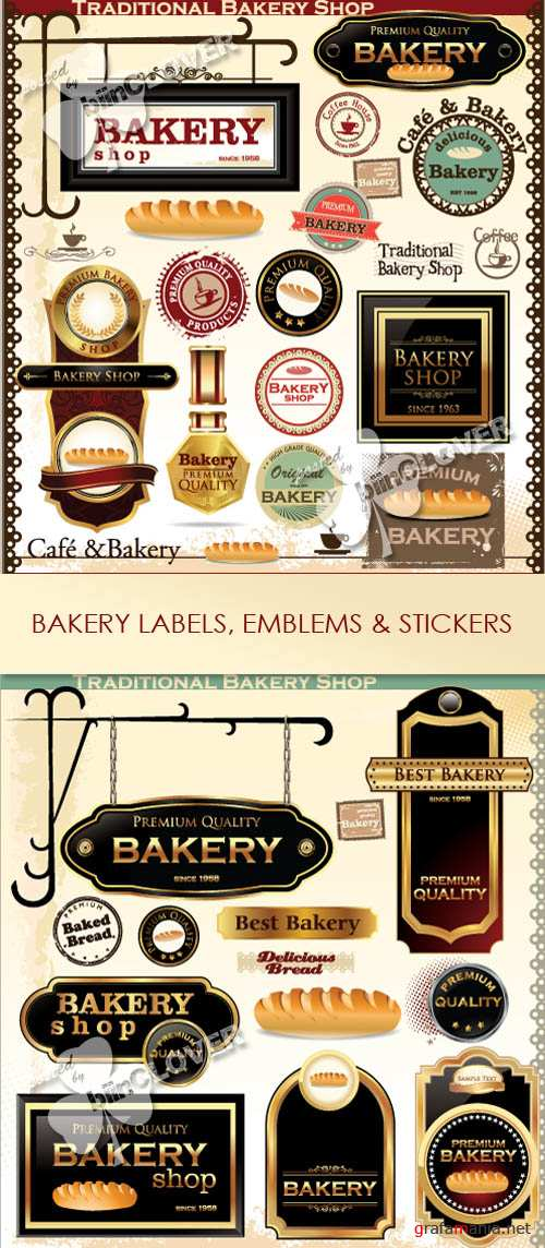 Bakery labels, emblems and stickers 0349