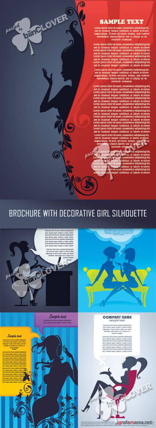 Brochure with decorative girl silhouette 0349