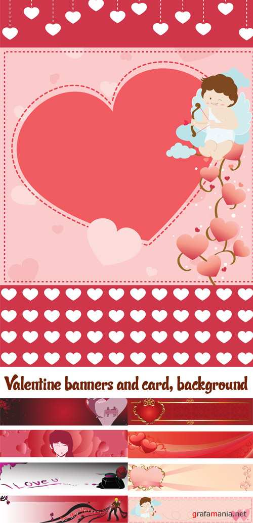 Stock: Valentine banners and card, background