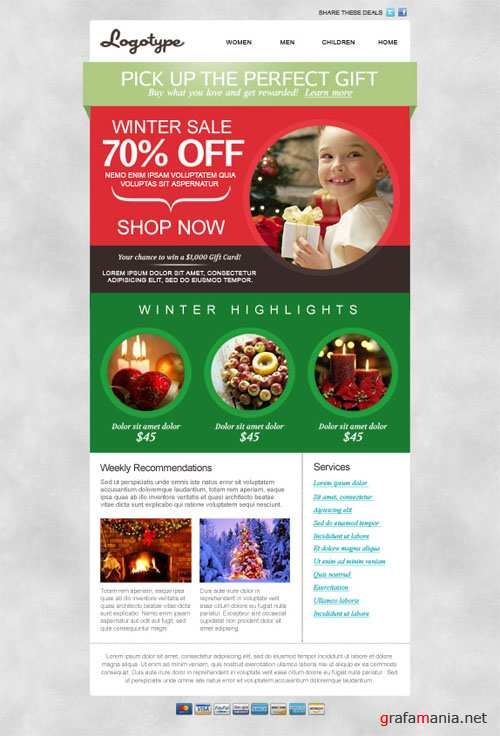 Seasonal Email Newsletter PSD Template