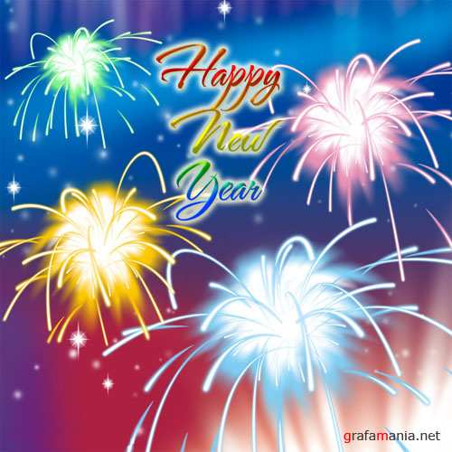 Fireworks Happy New Year PSD Template