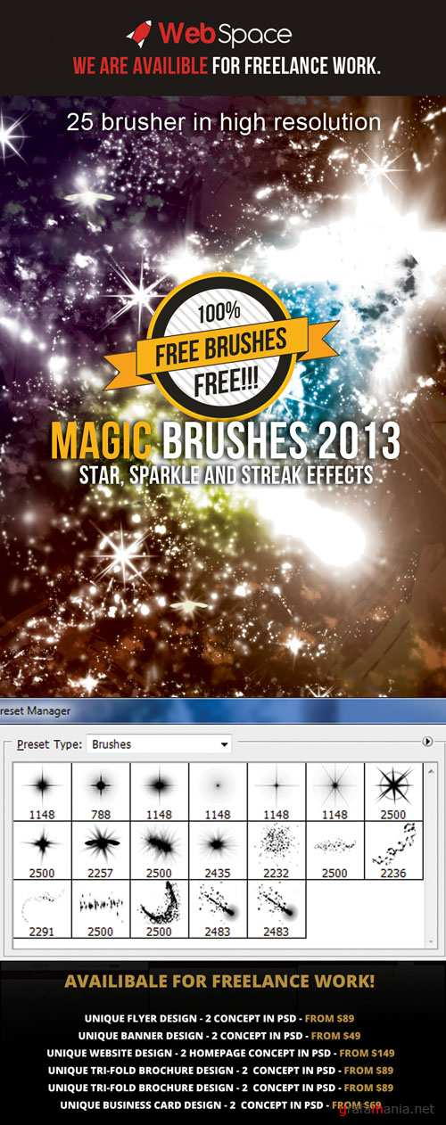 Magic Sparkle and Streak Effects Brushes for Photoshop