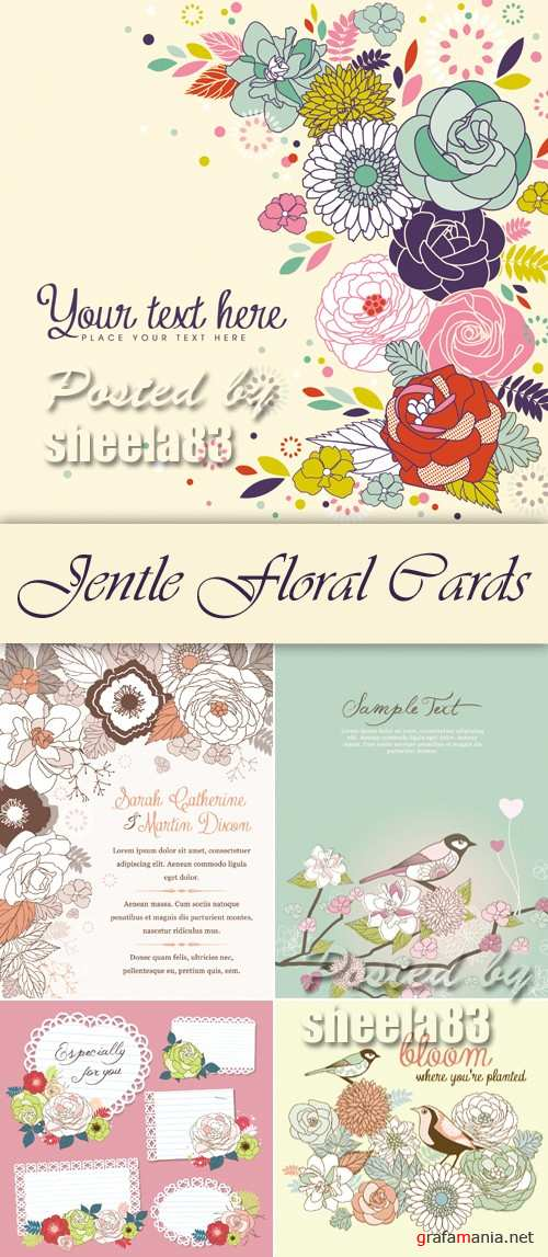 Jentle Floral Cards Vector