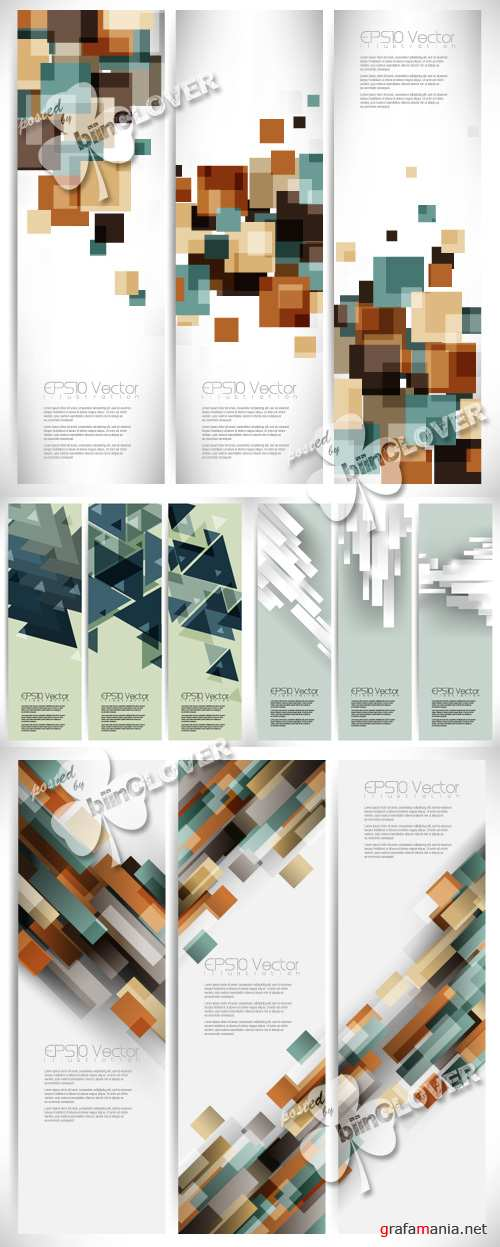 Abstract geometric banners set 0354
