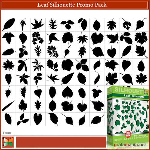 80 Leaf Silhouettes Vector & Brushes Pack