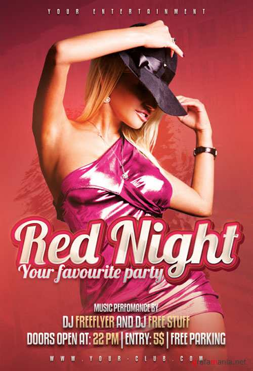 Red Night Party Flyer/Poster PSD Template