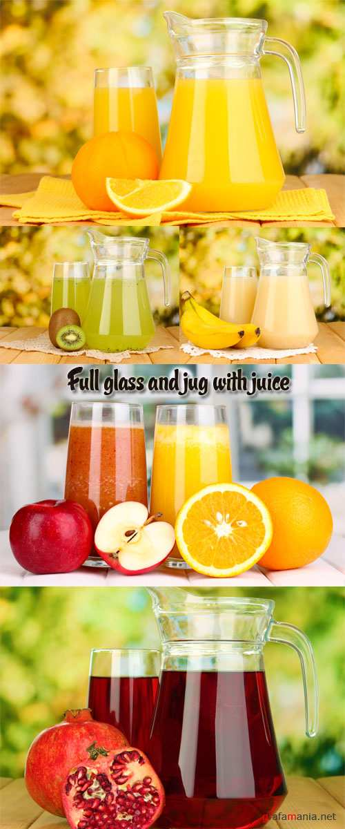 Stock Photo: Full glass and jug with juice