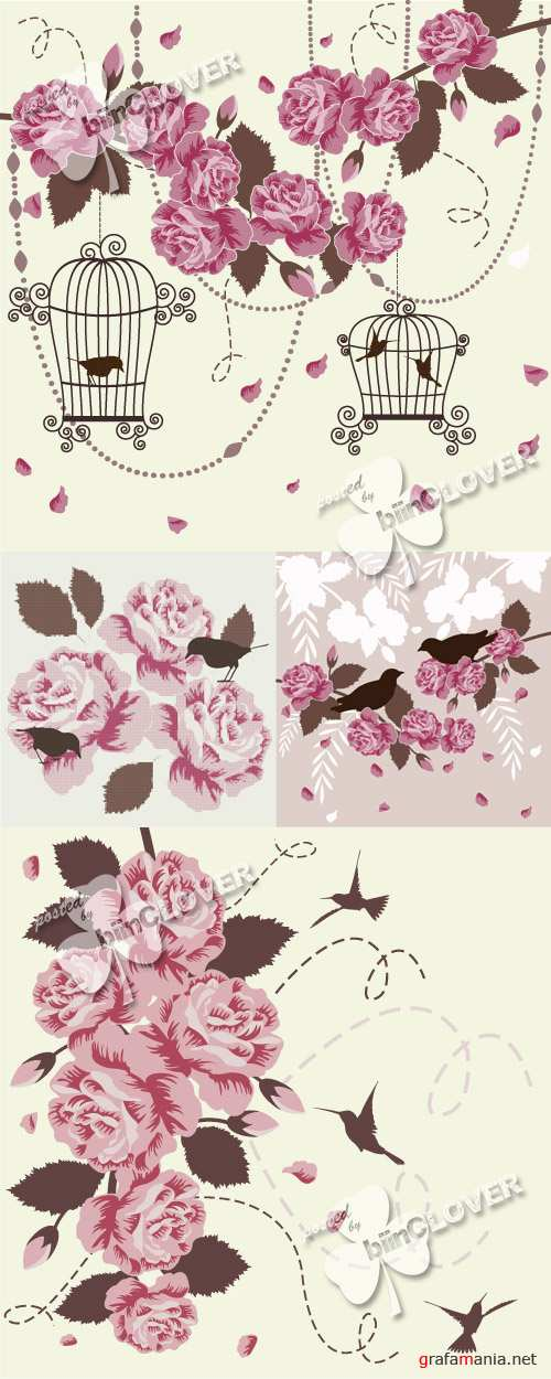 Romantic background with birds and roses 0360