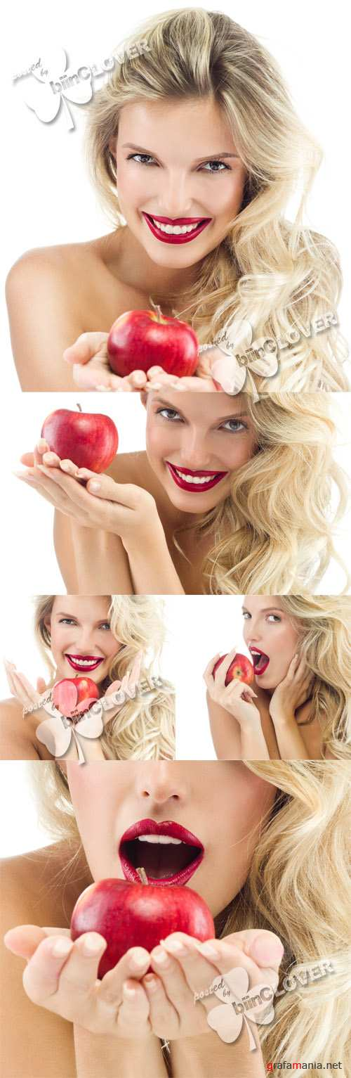 Woman with red apple 0360