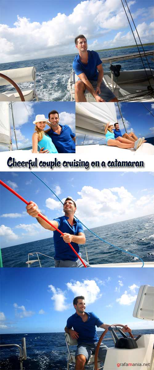 Stock Photo: Cheerful couple cruising on a catamaran in Caribbean sea