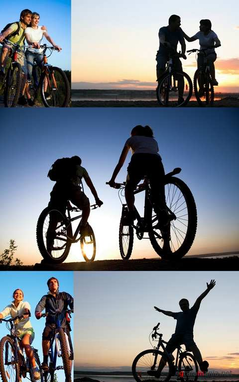 People. Bicycles