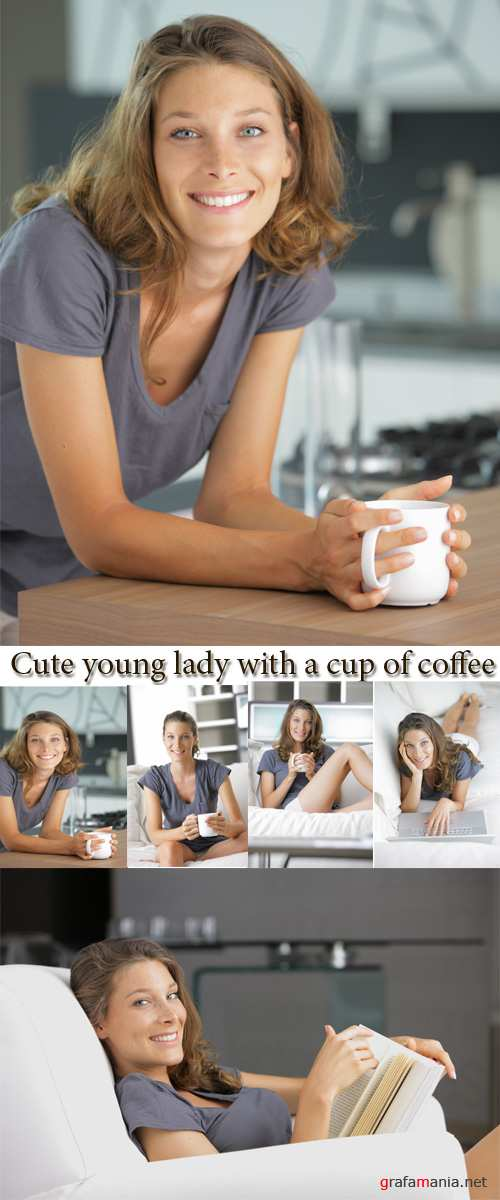 Stock Photo: Cute young lady with a cup of coffee