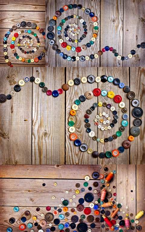 Buttons on Old Wooden Table