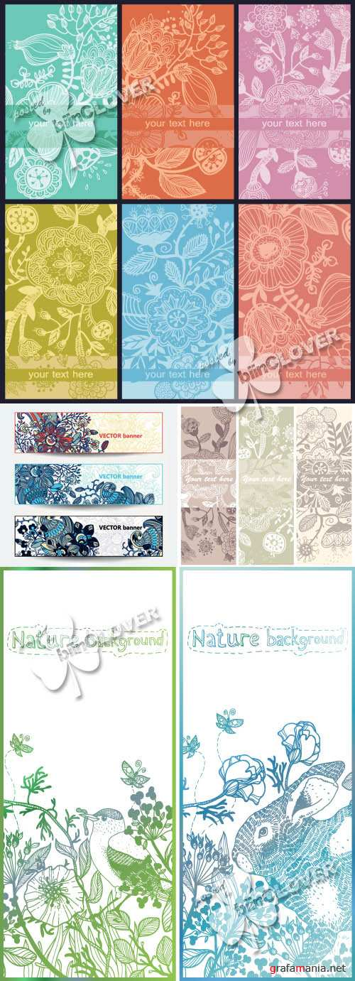 Abstract floral cards and banners 0364