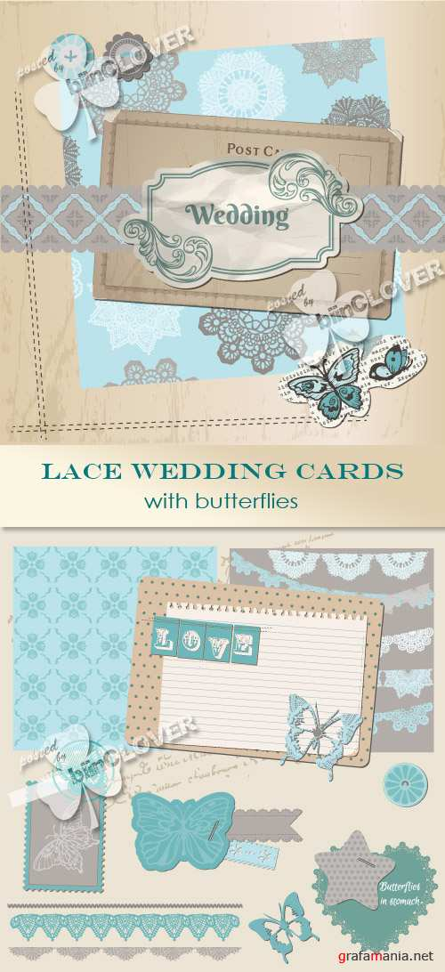 Lace wedding cards with butterflies 0364