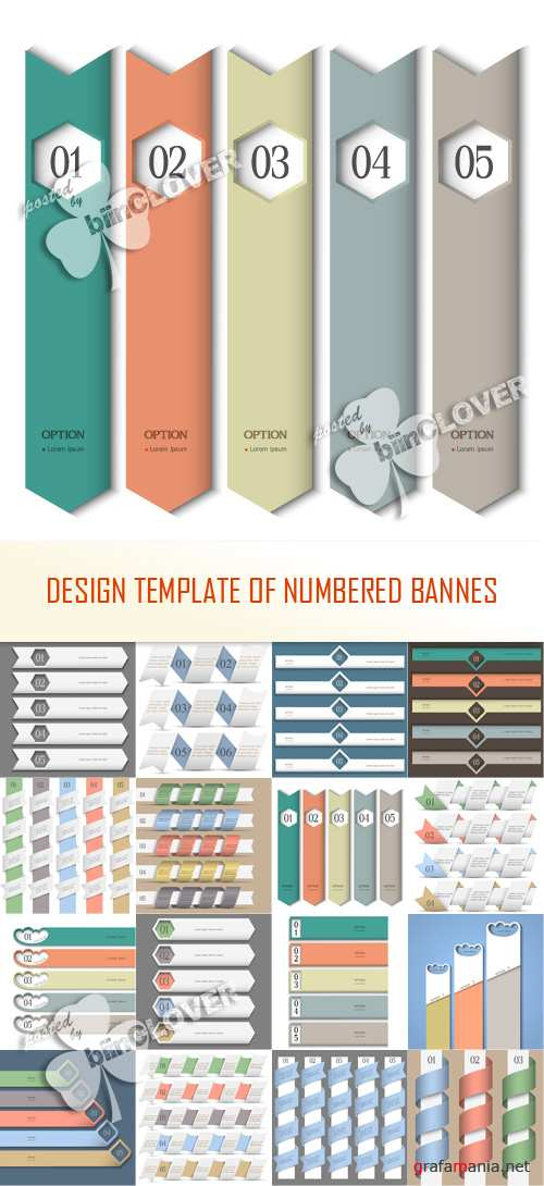 Design template of numbered banners 0366