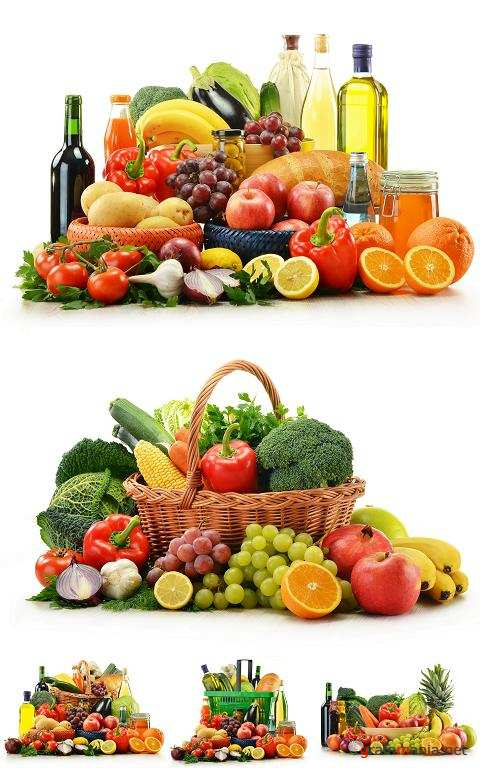 Basket with Vegetables, Fruits, Wine and Bread