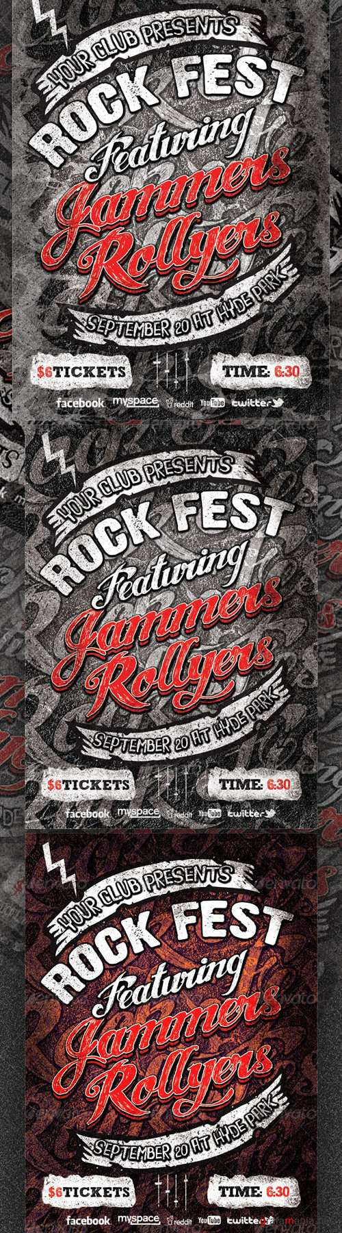 GraphicRiver - Rock Fest Typographic Flyer PSD Template 3009091