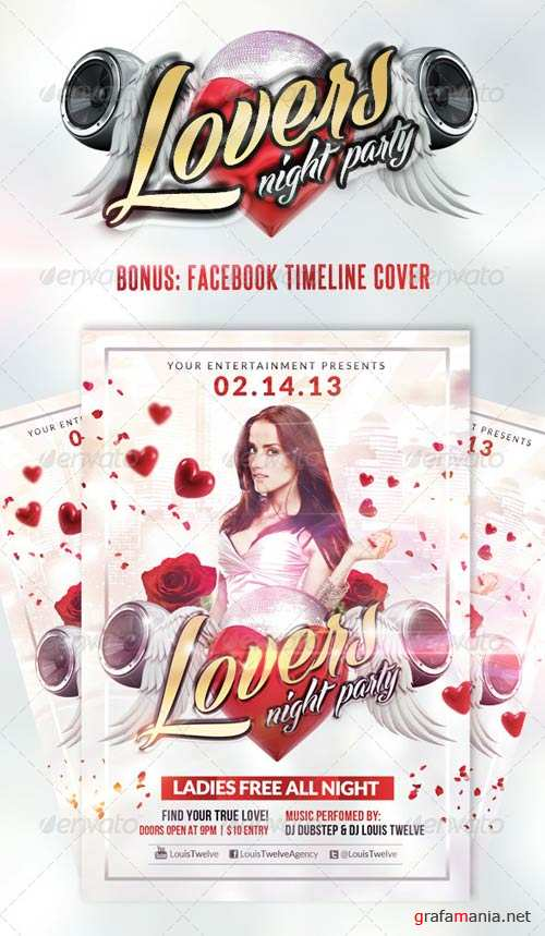 GraphicRiver Lovers Night / Valentine's Day | Flyer + Fb Cover