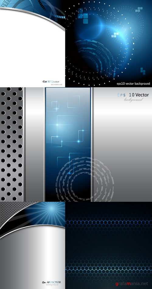 Metal and Techno Vector Backgrounds #10