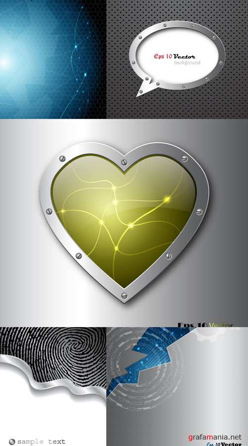 Metal and Techno Vector Backgrounds #11