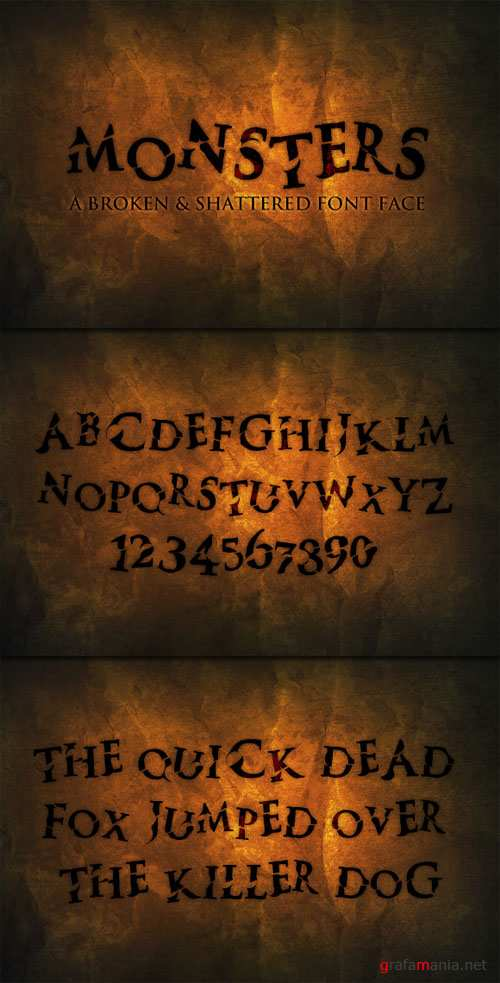 WeGraphics - Monsters – A Broken and Shattered Font Face