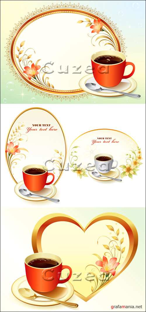 Vector stock - Цветочные рамки и чашка кофе/  Floral frame with cup of coffee
