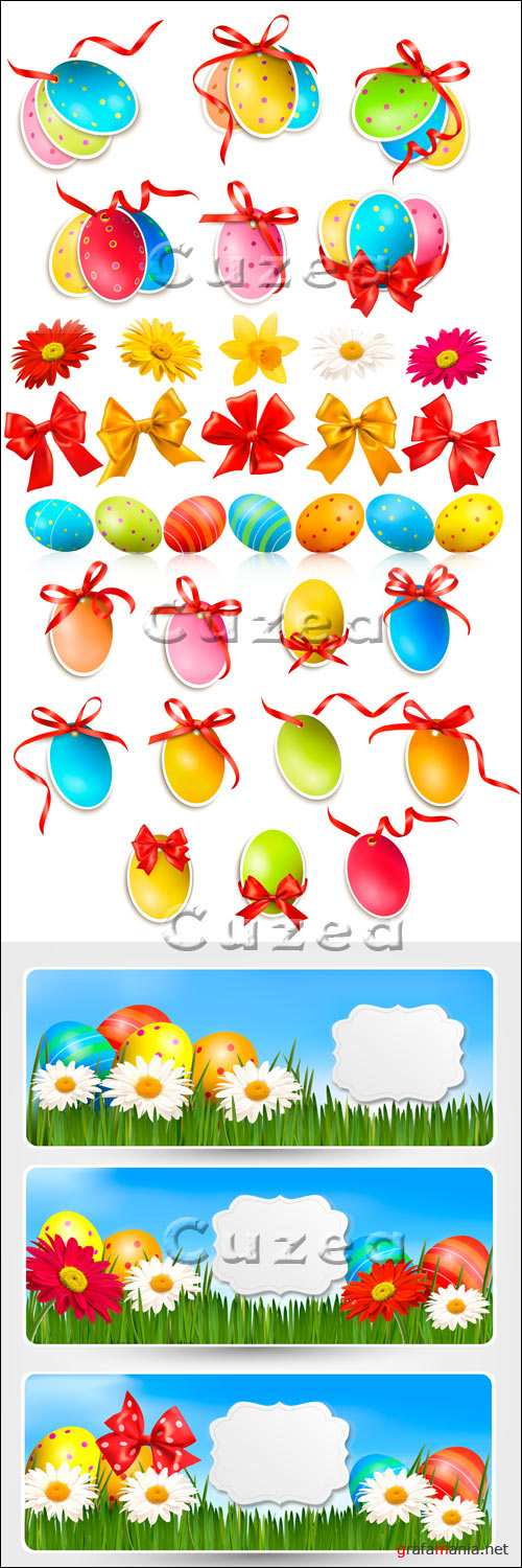 Vector stock - Красочный клипарт к Пасхе/   Easter banners with Easter eggs and colorful flowers