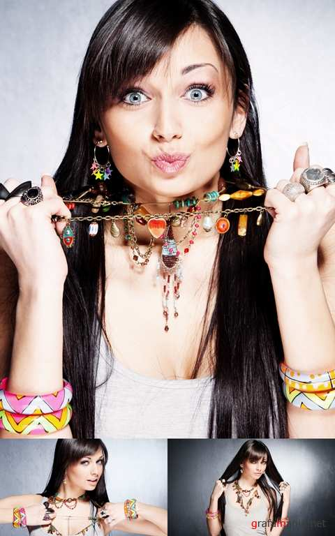 Girl with Necklaces, Rings and Bracelets