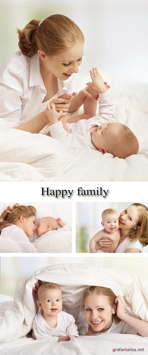 Stock Photo:  Happy family, young mother with baby