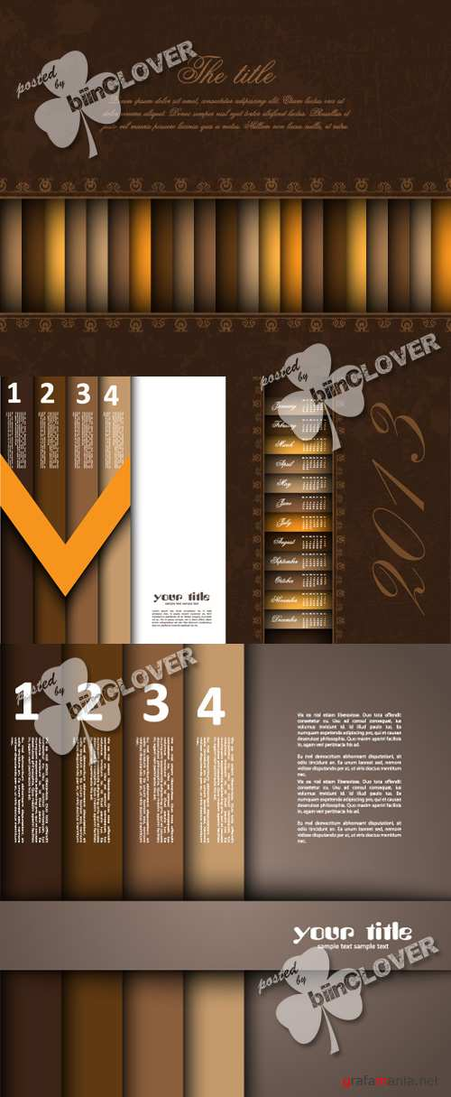 Brown numbered banners design 0365