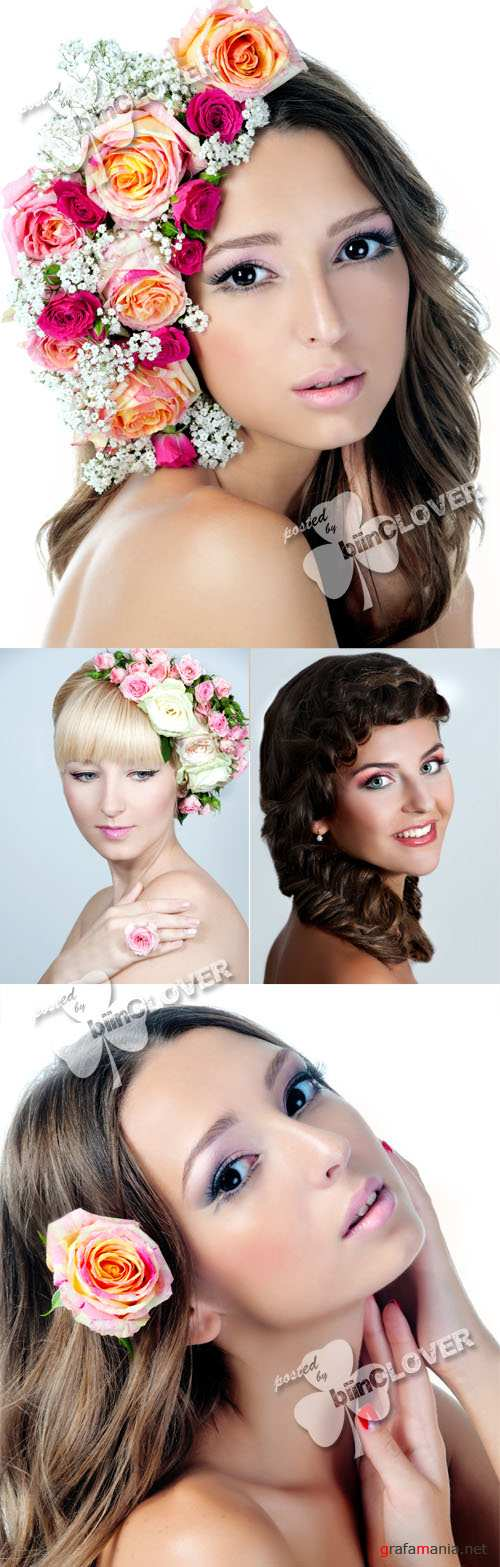 Girl with stylish makeup and flowers 0385