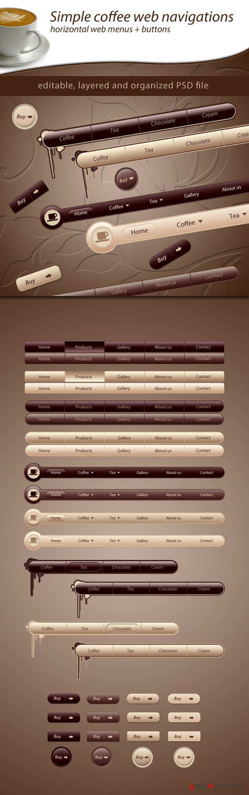 Simple Coffee Web Navigations and Buttons PSD Template