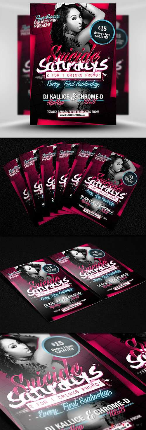 Suicide Saturdays Party Flyer/Poster PSD Template