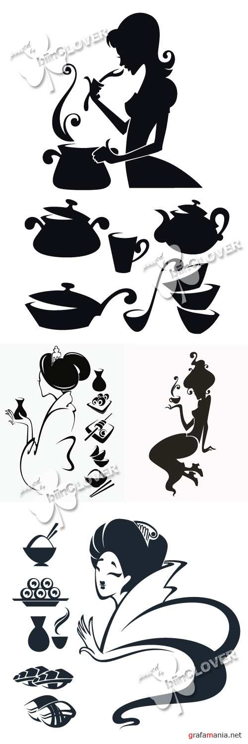 Woman silhouettes and food symbols 0389