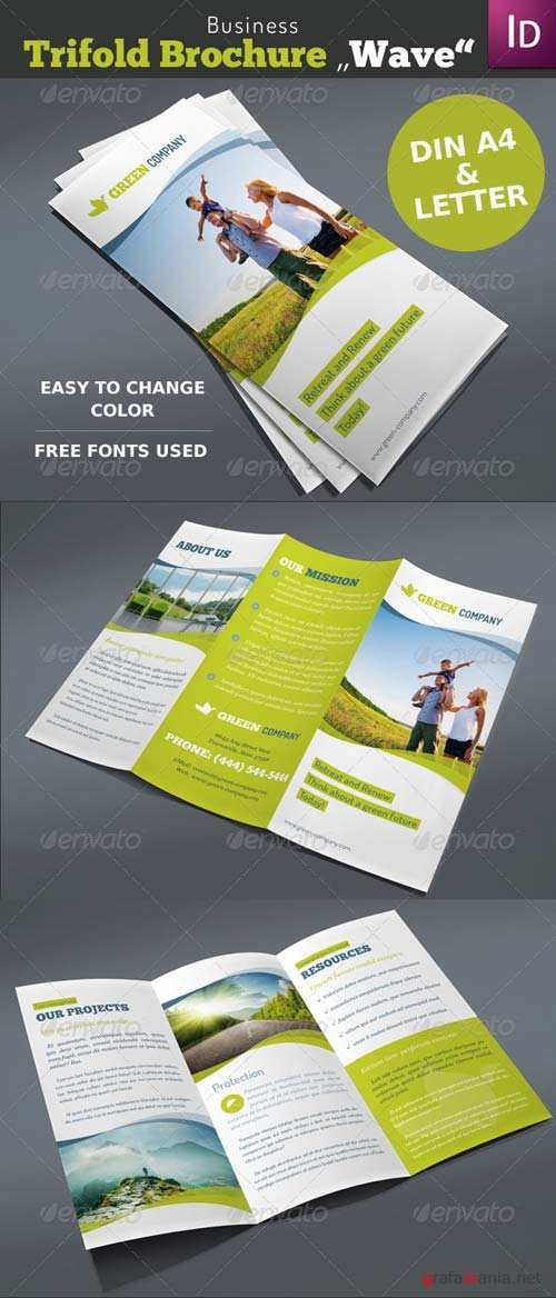 """GraphicRiver Business Trifold Brochure """"Wave"""""""