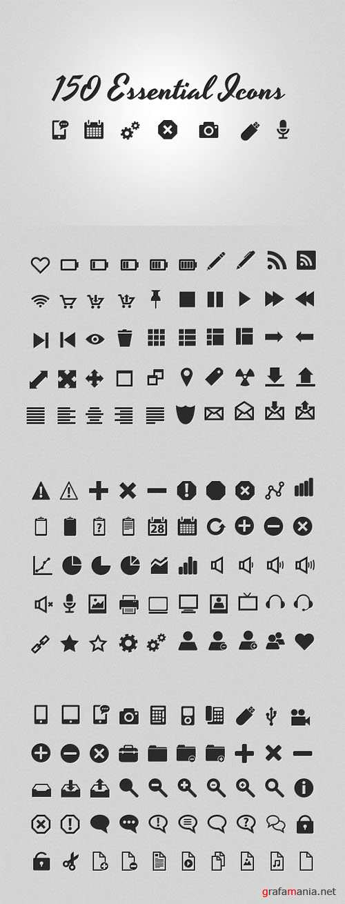 WeGraphics - 150 Essential Icons Collection Vol 1