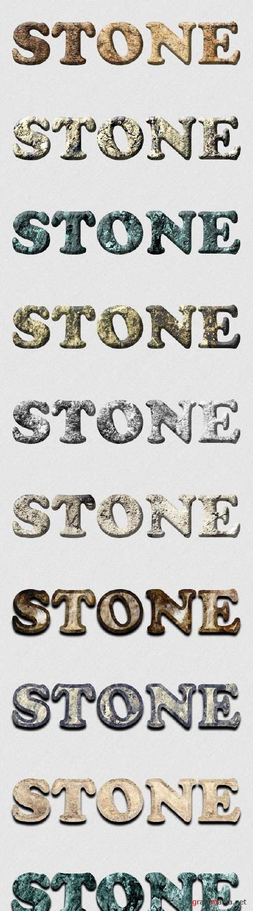 12 Stone Layer and Text Styles for Photoshop