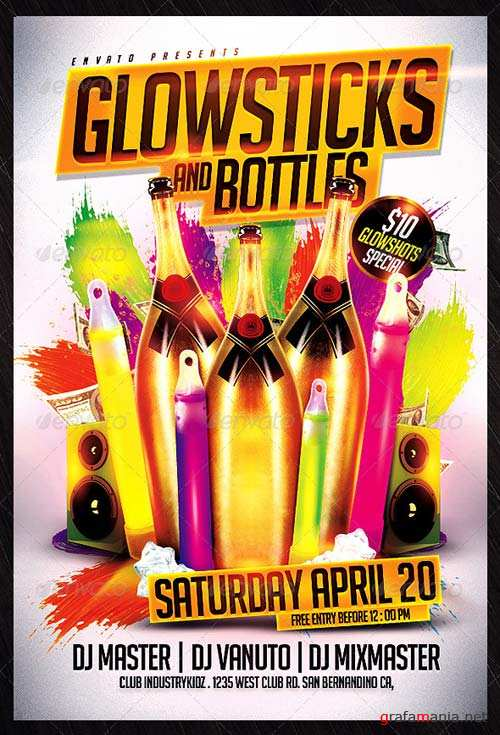GraphicRiver Glowsticks and Bottles Flyer