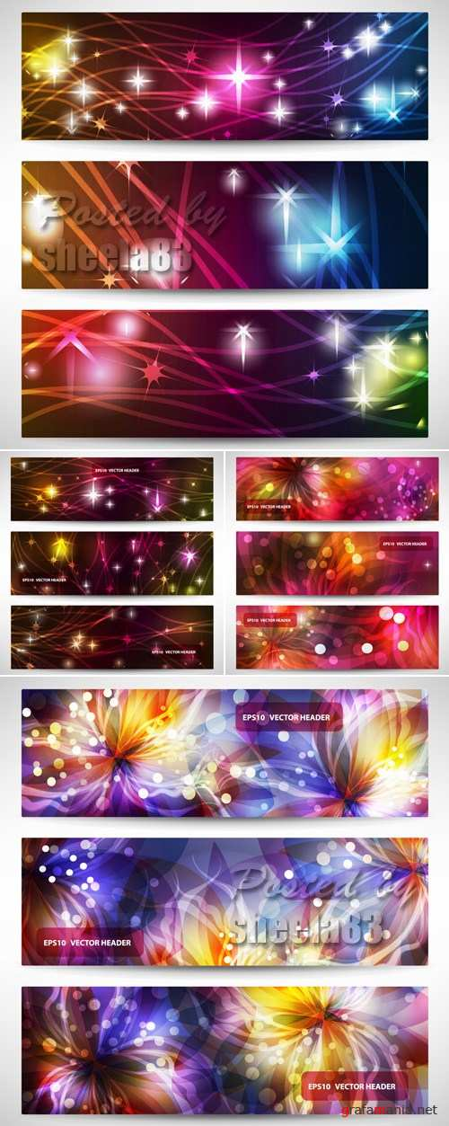 Bright Abstract Banners Vector